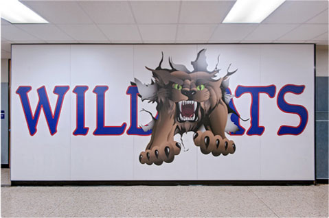 Custom Laminate Wall Panels Featuring School Mascots to Motivate Students