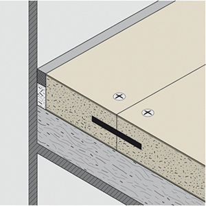 Floor side connection with mastic sealant and mineral wool